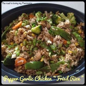 """The road to loving my Thermomix: Garlic Pepper Chicken """"Fried Rice"""""""