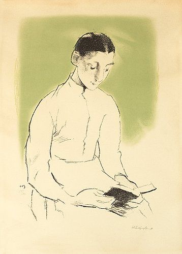 """HELENE SCHJERFBECK, """"Konfirmanden (Andakt)"""". Litograph in colours, 1938/39, on Canson & Montgolfier pap.... - Autumn Classic Sale, Stockholm 571 – Bukowskis"""