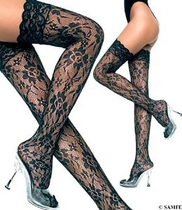 Luboh: Floral Lace Thigh High, Black-OS $6.79USD