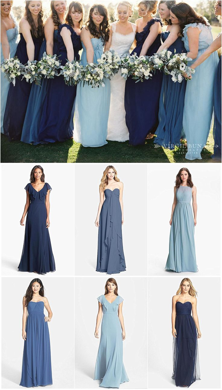 Mismatched blue and navy bridesmaid dresses. Click to see where to buy these dresses online.