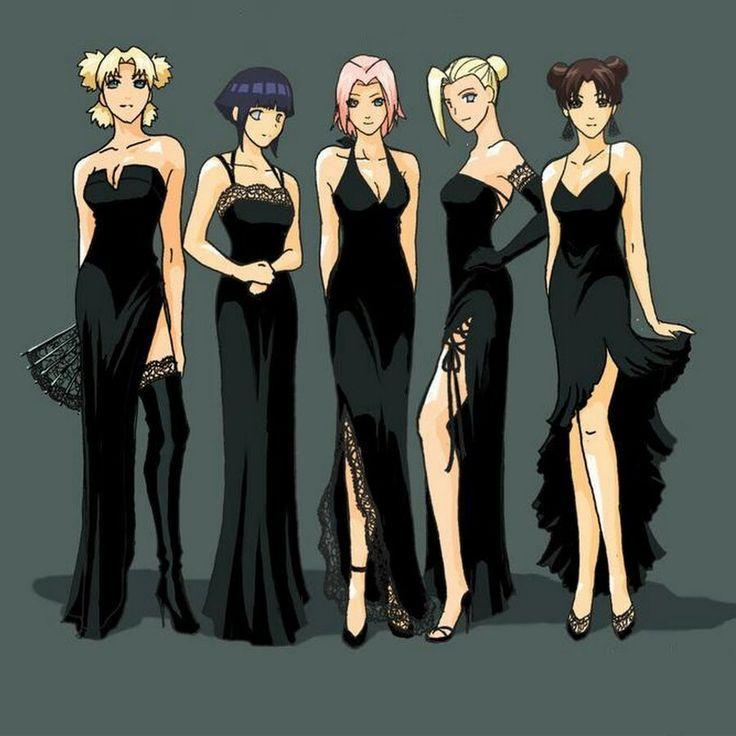 Naruto shippuden girls in black dresses — 10