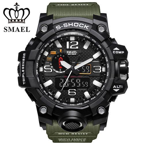 SMAEL Brand Sport Watch Men Digital LED Clock Military Watch Army Men's Wristwatch 50M Waterproof Relogio montre homme WS1545