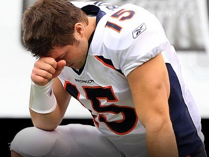 Tim Tebow playing for the Broncos