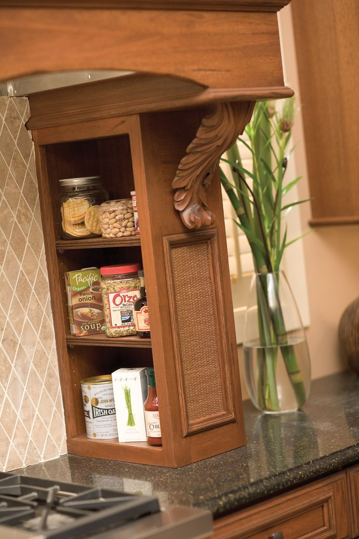 Open Spice Storage Offers A Decorative Option Below The Stove Hood And To  The Side Of