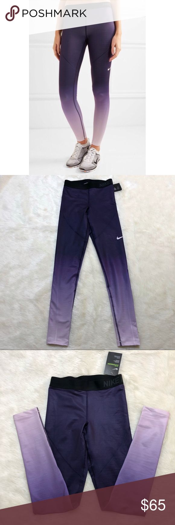 """NWT -Nike Pro Hyperwarm Ombré Leggings XS NWT - Perfect retail condition.   Developed for cooler weather workouts, Nike's 'Pro Hyperwarm' leggings are cut from body-skimming stretch-jersey and printed with a purple and lilac ombré effect. Thanks to the brand's Dri-FIT technology, this moisture-wicking pair will to keep you dry and comfortable during workouts.   Rise:8"""" Inseam : 28"""" Nike Pants Leggings"""