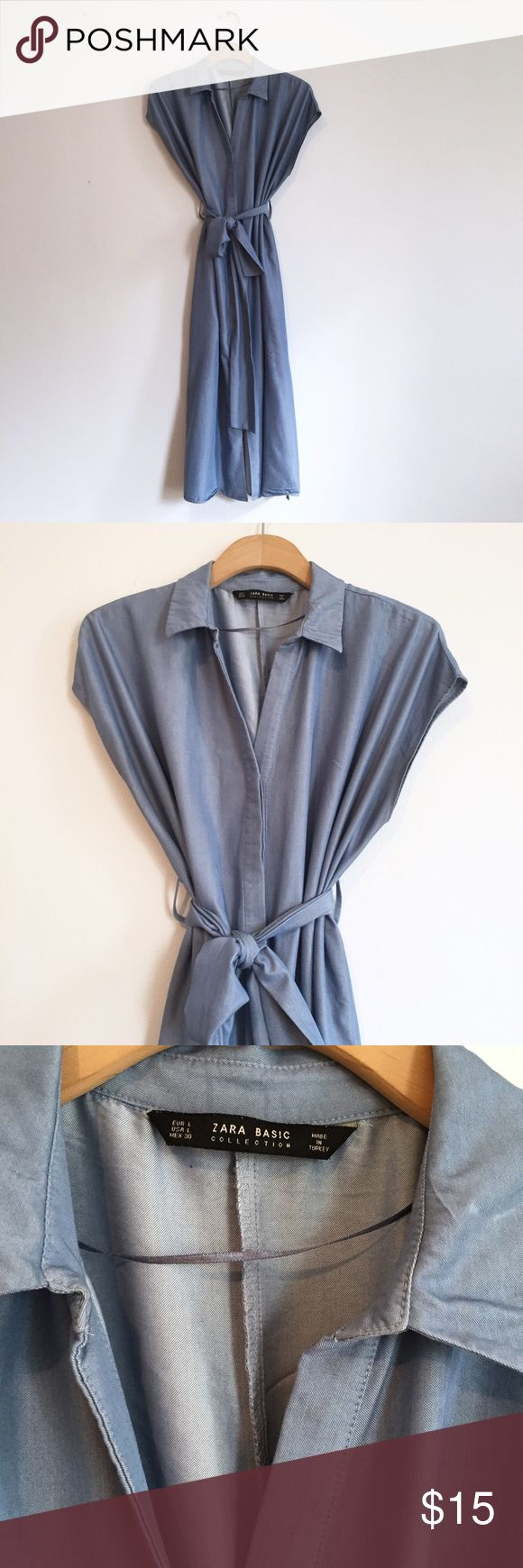 Zara Denim Midi Dress Zara Denim Midi Dress  -Size L -Attached belt and shell buttons -In good condition with light wear and light mark.  See photos.  ⚡️No Trades⚡ ➕Offers Accepted➕ ✈️Fast Shipping✈️ Zara Dresses Midi