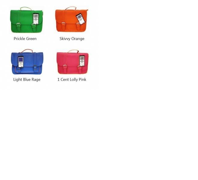Moana Road primary school satchel bags in bright colours.