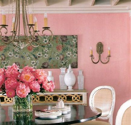 Suzanne Kasler - Dining Room #pinkDecor, Dining Rooms, Wall Colors, Living Room, Interiors Design, Diningroom, Pink Wall, House, Painting Colors