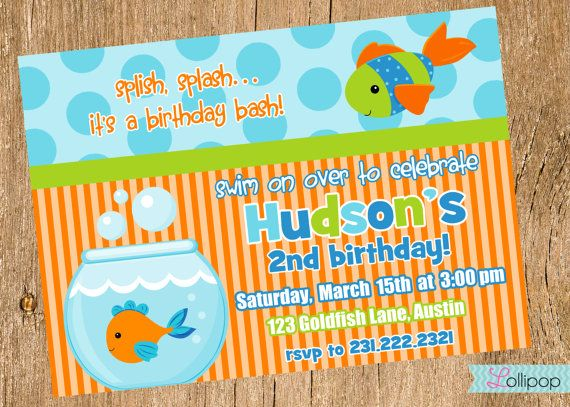 Best Jennifers Baby Shower Images On Pinterest Events Boats - Goldfish birthday invitation