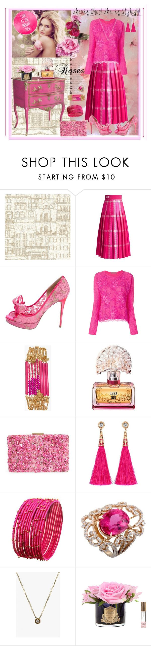 """Lovely Lace Blouse"" by sherrysrosecottage-1 ❤ liked on Polyvore featuring Brewster Home Fashions, Fendi, Valentino, Ermanno Scervino, Whiteley, Sequin, Anna Sui, Natasha, LUMO and Côte Noire"