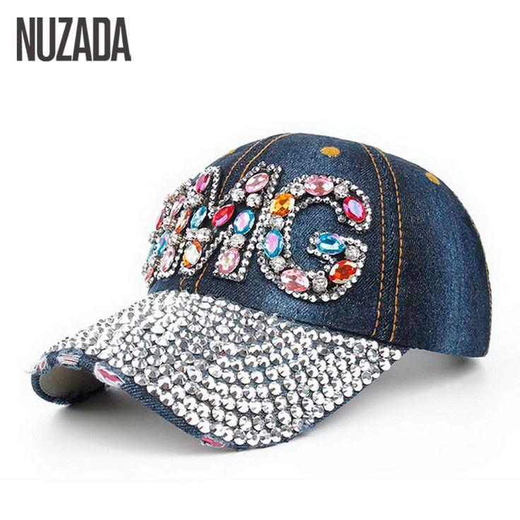Brands NUZADA Denim Women Girls Ladies Baseball Cap Acrylic Color Glass Rhinestones Hip Hop Hats Caps Snapback Bone szm-023