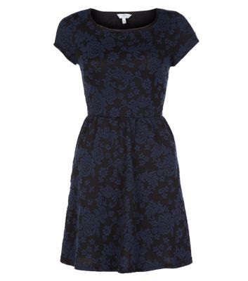 Navy and Black Floral Jacquard Skater Dress