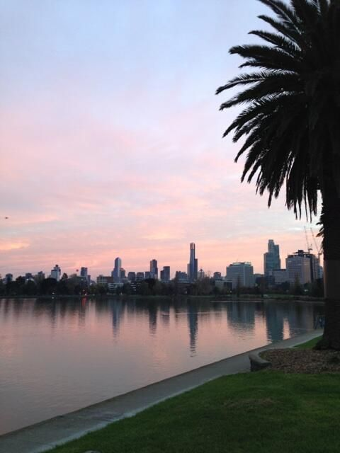 Sunrise over Albert Park Lake, Melbourne  Submitted by @timmyw85  01/05/2013