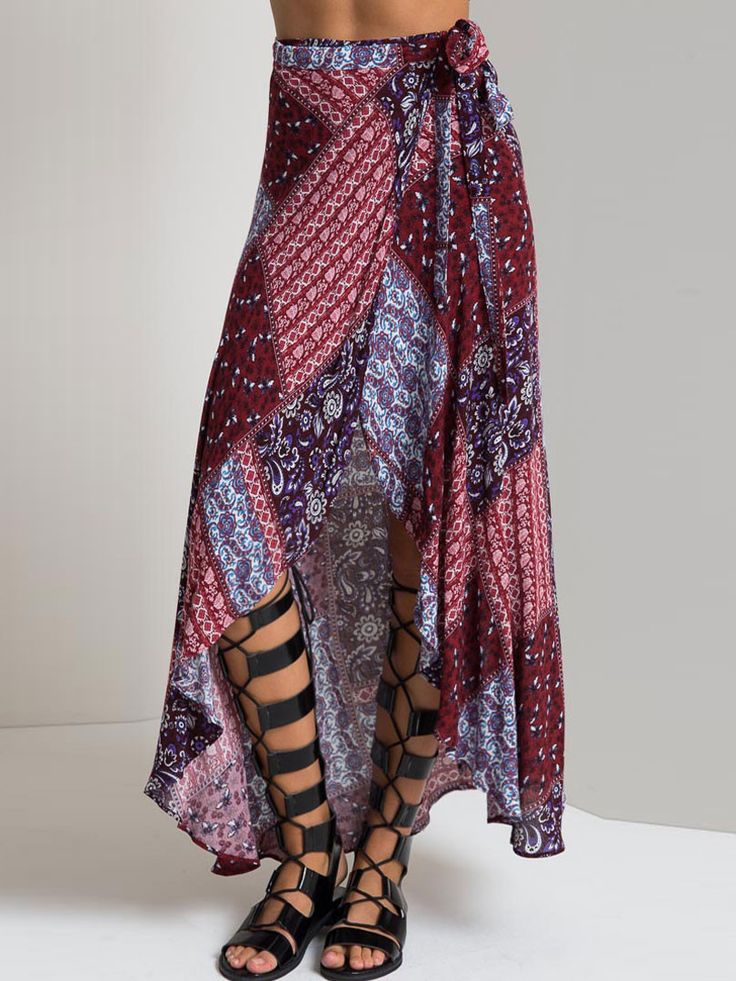 Multicolor Tribe Pattern High-low Wrap Skirt - MYNYstyle - 1