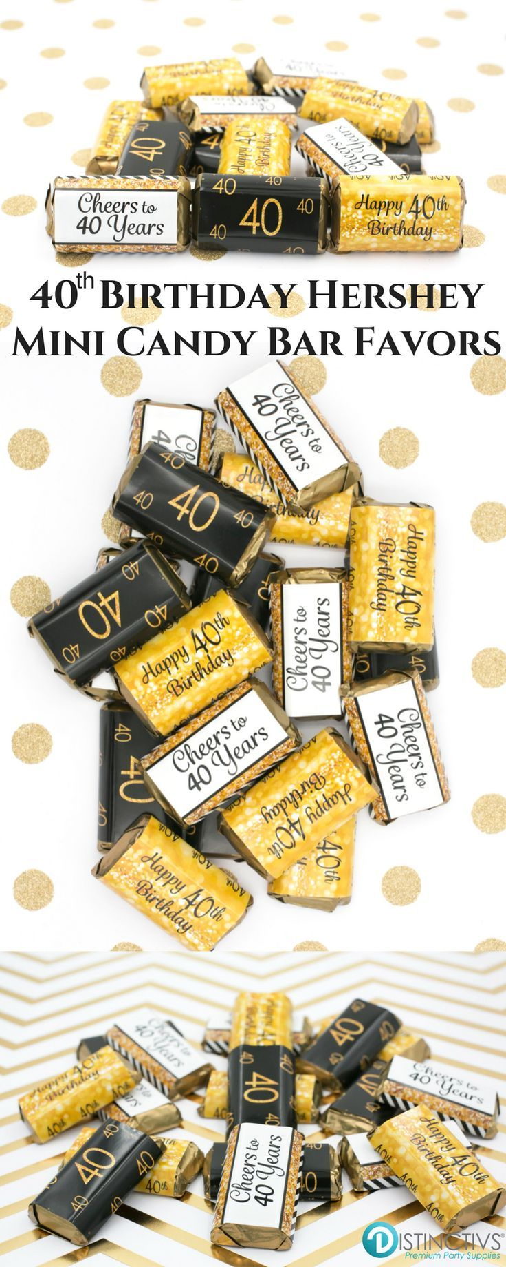 Black and Gold 40th Birthday Party   Mini Candy Bar Stickers  Set of 54 Best 25  40th birthday decorations ideas on Pinterest   40  . Diy Centerpieces For 40th Birthday Party. Home Design Ideas