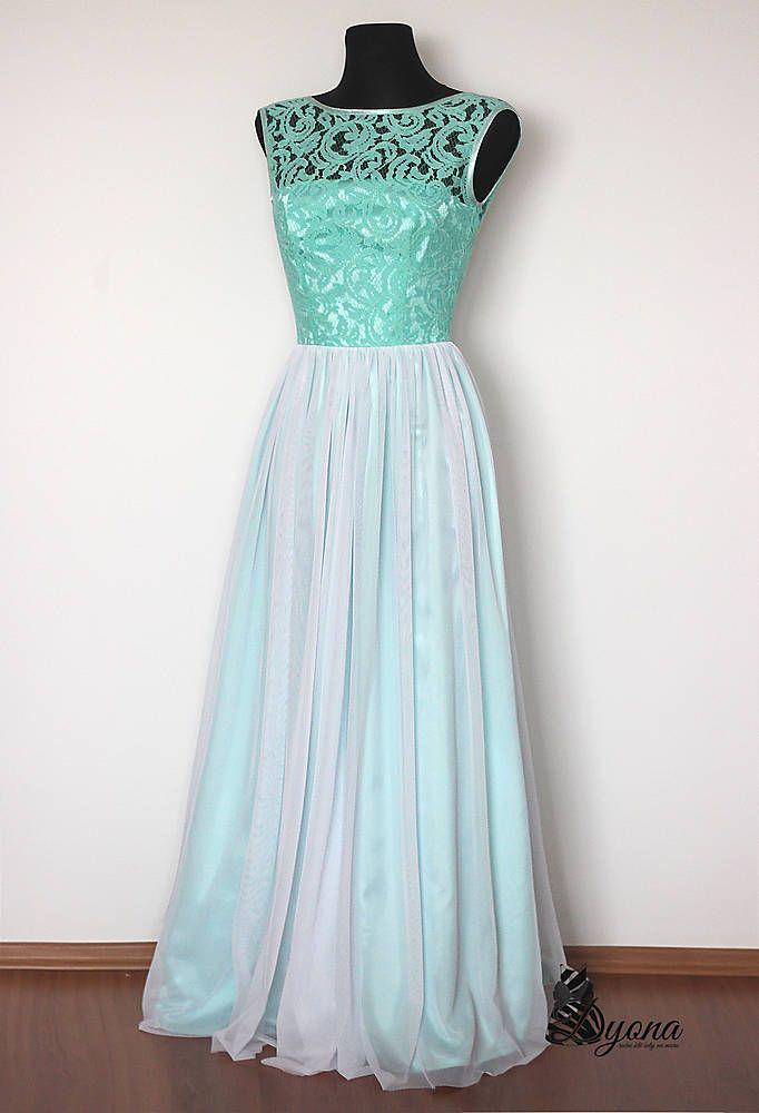 Šaty - Spoločenské šaty Mentol s tylovou sukňou  - 4987004_