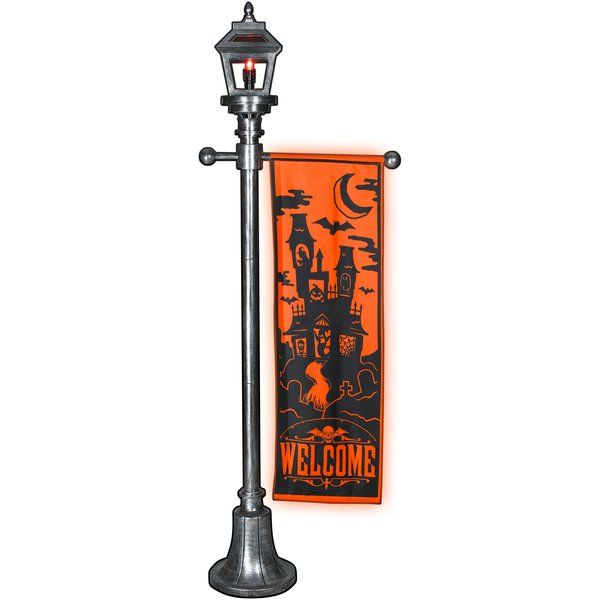 halloween lamp post with welcome banner christmas light express - Lowes Halloween Decorations