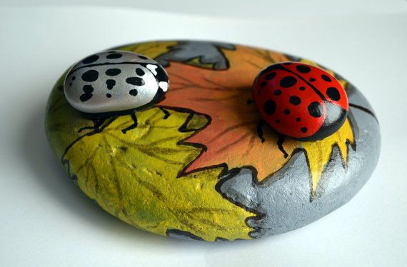 Lady bugs on fall leaves