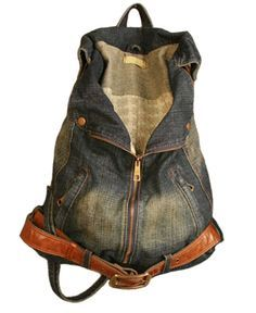 Retro Faded Denim Backpack with Pin Buckle Belt