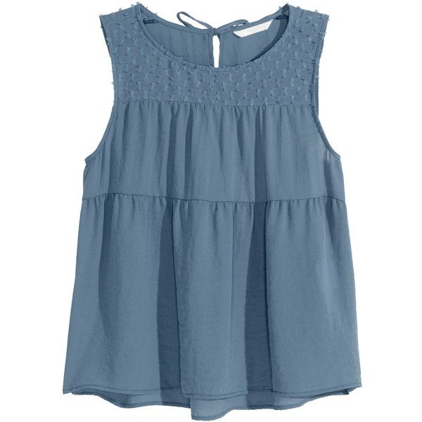 H&M Tiered top ($8.70) ❤ liked on Polyvore featuring tops, shirts, blue, sleeveless shirts, blue chiffon top, tie top, tie shirt and blue shirt