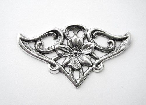 1 - FLOWER FLOURISH Ornament Silver Ox Brass Jewelry Findings - Brass Stampings (F) | TheCharmShoppe - Jewelry Supplies