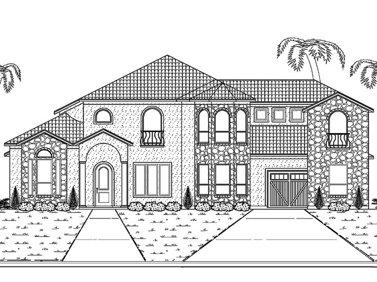 Eplans Mediterranean House Plan   Abundant Garage And Parking Space   4145  Square Feet And 5 Bedrooms From Eplans   House Plan Code