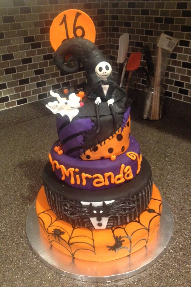 The Nightmare Before Christmas Halloween Themed Sweet 16 Cake