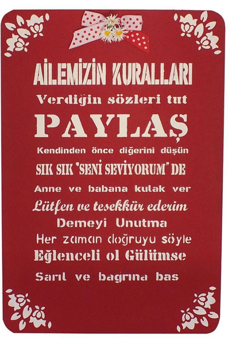 Ailemizin Kuralları Pano Kırmızı #DekorazonCom >> http://www.dekorazon.com/ailemizin-kurallari-pano-kirmizi-detayi-15115