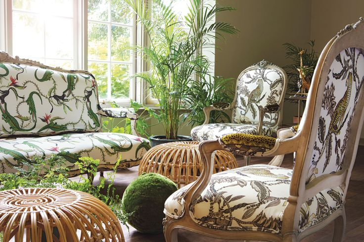 Antique furniture pieces upholstered in River Chase Green (left) and Monkey Bean Stone (right)