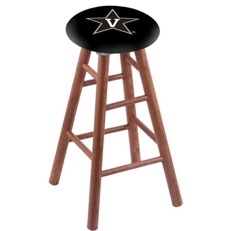 Vanderbilt Commodores Swivel Stool w/ Medium Brown Oak Wood Base
