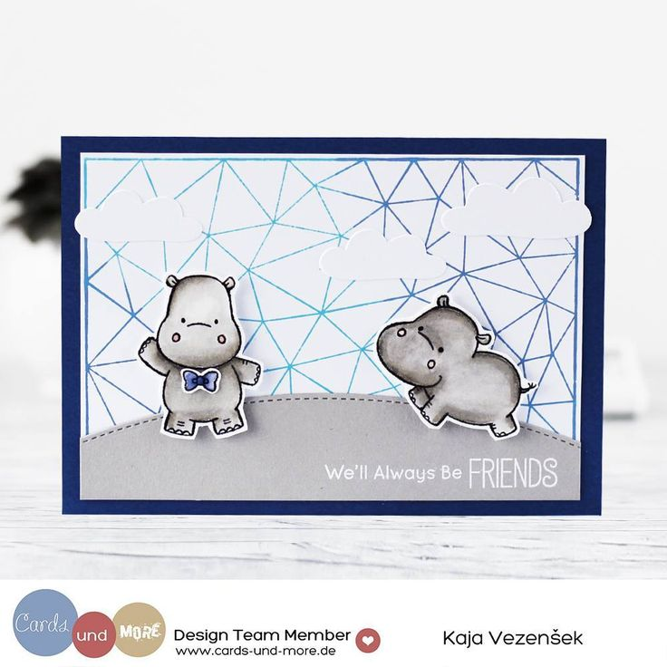 It's time for new challenge at @cardsundmore blog, this time around the theme is friends/craftyfriends  These @mftstamps hippos are just too cute,  #cardmaking #card #papercraft #papercrafting #craft #crafting #handmade #handmadecard #homemadecard #homemade #stamping #stamps #mftstamps #watercolor #watercoloring #mft #cardsundmore #cardsundmoredesignteam #cardsundmoreshop #hippo #krumspring #krumspringstamps