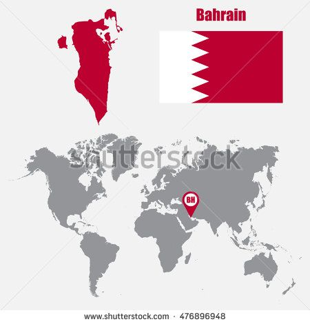 Bahrain Map On A World Map With Flag And Map Pointer Vector Ilration Buy This Stock Vector On Shutterstock Find Other Images