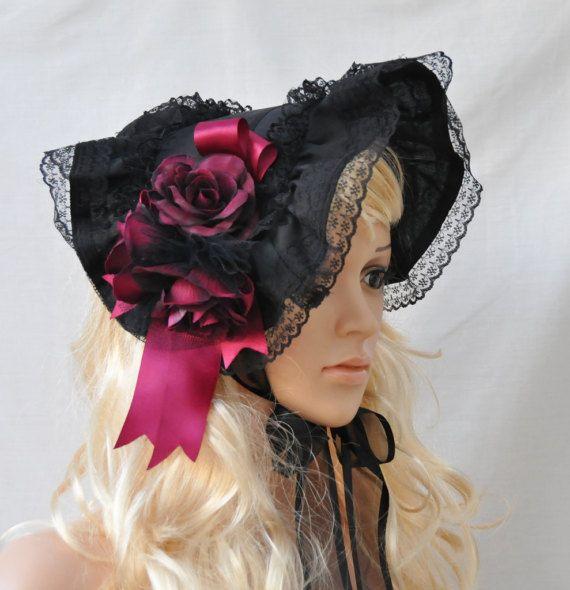 Black Gothic Lolita Bonnet Victorian Lace Flowers bonnet
