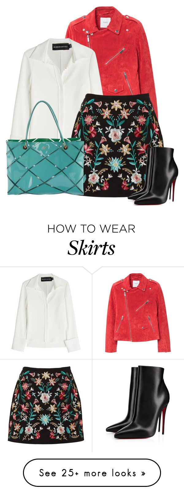 """""""EMBROIDERED MINI SKIRT"""" by oxigenio on Polyvore featuring MANGO, Brandon Maxwell, Roger Vivier and Christian Louboutin"""