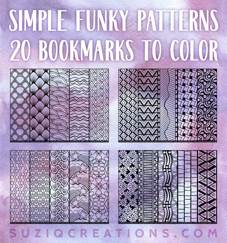 FUN! Simple Funky Pattern Bookmarks to Color - Instant digital download printable coloring pages