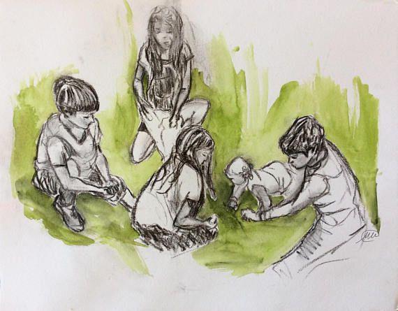 ORIGINAL DRAWING. Children at play