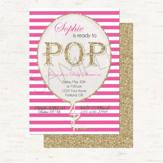 Ready To Pop - Pink Stripes and Gold Glitter Personalized Balloon Baby Shower Invitation, Double Sided - DIGITAL FILE ONLY
