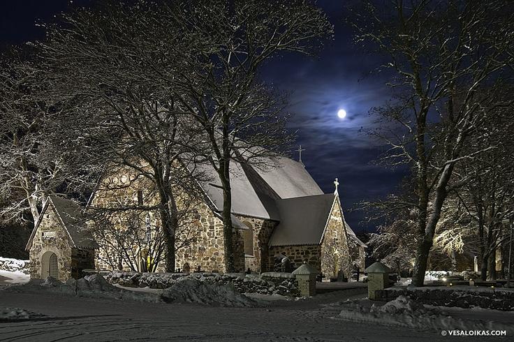 Medieval Church in the moonlight - Nauvo, Finland jan. 1st 2010 vesaloikas.com