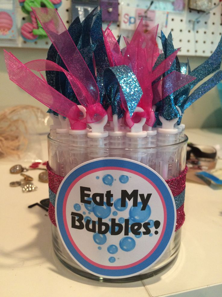 "Swim team party favor. I used an old Bath and Body Works candle, added ribbon, created ""Eat My Bubbles"" on the computer, cut it out with a Sizzix, and hot glue gunned it all down. The bubbles I bought from Walmart and added ribbon to the top of it. Perfect for swim meets!"