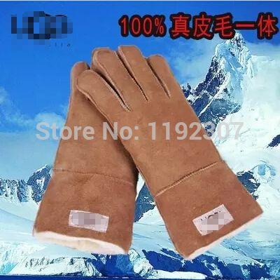 Кожаные Перчатки Весна Мужские Перчатки Овчины 100% Неподдельные Перчатки Чистой Натуральной Шерсти и Овчины Теплые Зимние Перчатки F1777 #