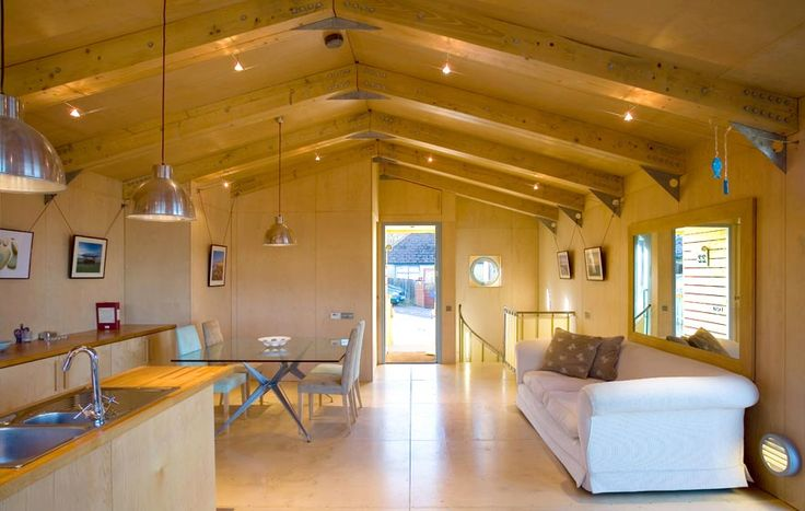 Jago House, The Manser Practice #house #Isle of Wight #wood #timber #beach #hut #ply #plywood #exposed