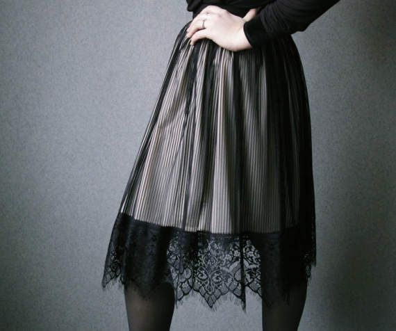 Striped Victorian Lace Skirt / Nude Black by APetersoneClothing
