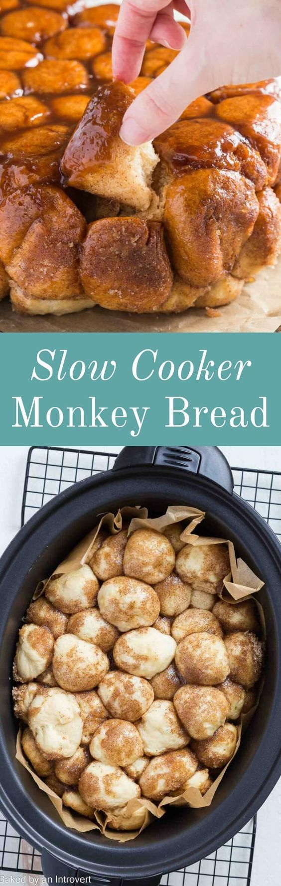 Slow Cooker Monkey Bread is super easy to make! Soft, fluffy pull-apart bread covered in gooey melted sugar is always a huge hit. via @introvertbaker