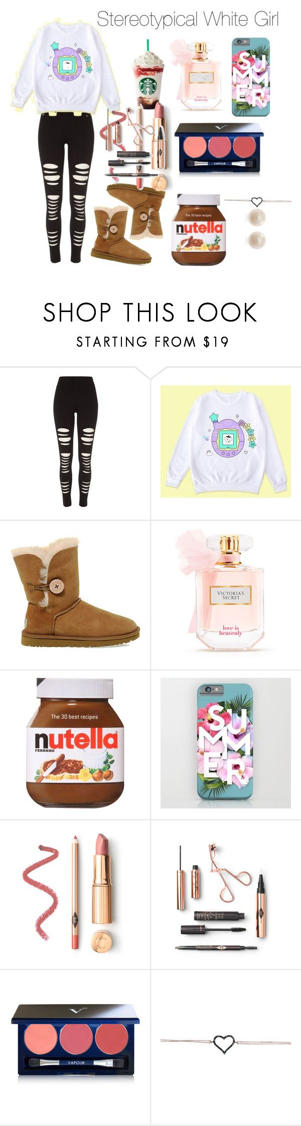 """Stereotypical white Girl"" by cray-crayreeny ❤ liked on Polyvore featuring River Island, UGG, Victoria's Secret, Vapour, Links of London, chic, beautiful and CasualChic"