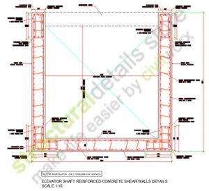 Elevator lift Shaft Reinforced Concrete Shear Walls details