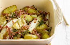 Ovenschotel met witloof, tijm en spek (vervangen door bacon reepjes) - geen aardappelen