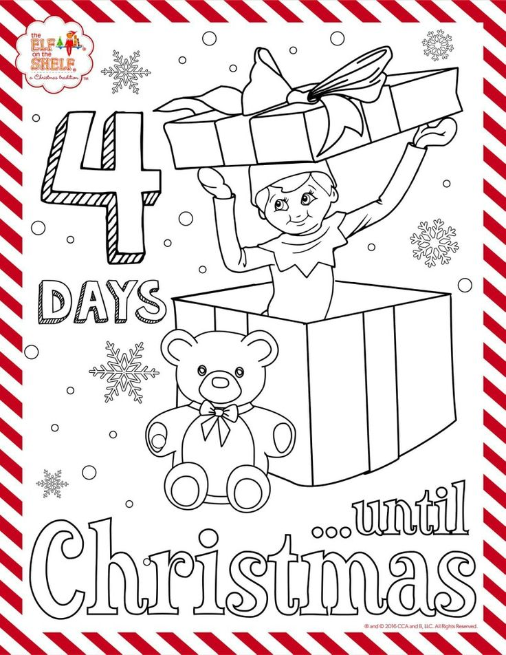 4 days till Christmas elf on the shelf coloring sheet