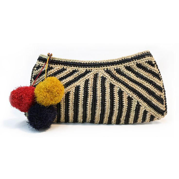 crochet pompom clutch purse