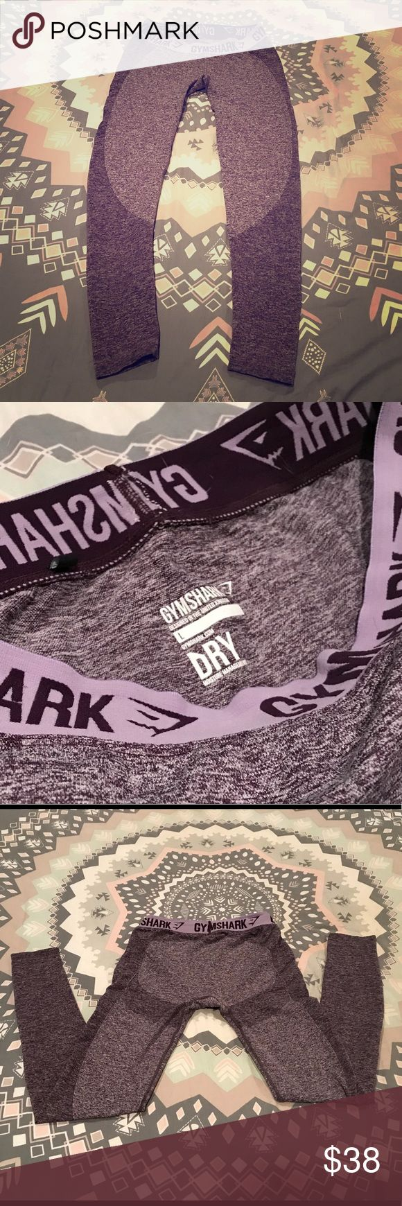 Women's Gymshark gym leggings sz Large Worn once. Washed and hung to dry. No flaws! Color is a lavender/purple tinted grey and charcoal grey with a lavender band Gymshark Pants Leggings