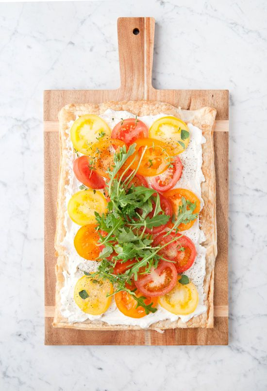 herb and goat cheese tomato tart | designlovefest